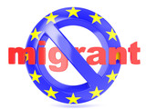 Forbidden sign with EU flag an migrant. Migrant crisis concept. 3D render illustration isolated on a white background poster