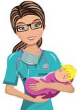 Woman Doctor Surgeon Holding newborn Isolated