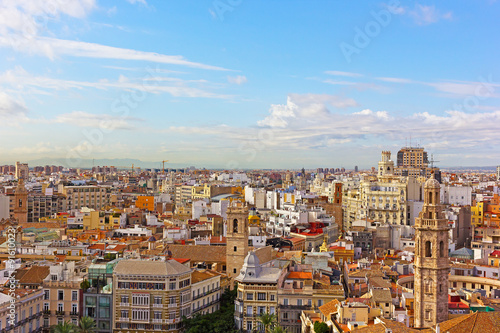 Aerial panoramic view of Valencia, Spain. Historic urban architecture of European city.