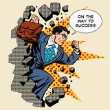 Fototapety Business breakthrough success businessman hero breaks through th