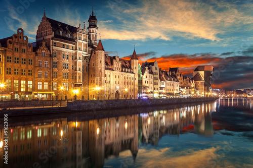 Zdjęcia na płótnie, fototapety na wymiar, obrazy na ścianę : The riverside with the characteristic Crane of Gdansk, Poland.