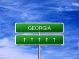 Georgia welcome travel landmark landscape map tourism immigration refugees migrant business. poster