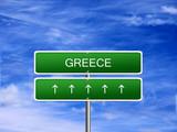 Greece welcome travel landmark landscape map tourism immigration refugees migrant business. poster