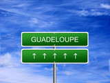 Guadeloupe welcome travel landmark landscape map tourism immigration refugees migrant business. poster