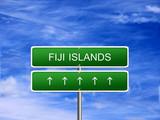 Fiji Islands welcome travel landmark landscape map tourism immigration refugees migrant business. poster