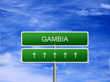 Gambia welcome travel landmark landscape map tourism immigration refugees migrant business. poster