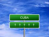 Cuba welcome travel landmark landscape map tourism immigration refugees migrant business. poster