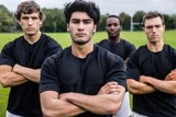 Rugby players scowling at camera poster