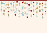 Hangigng ornaments xmas card background elements