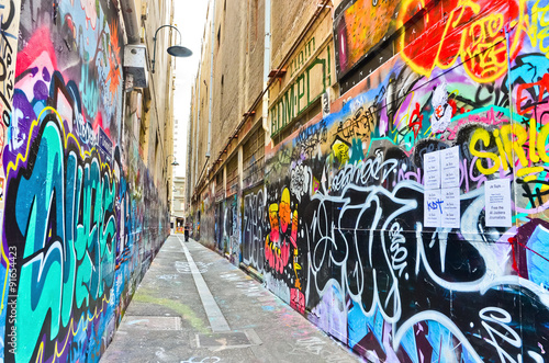 Poster View of colorful graffiti artwork at Hosier Lane in Melbourne