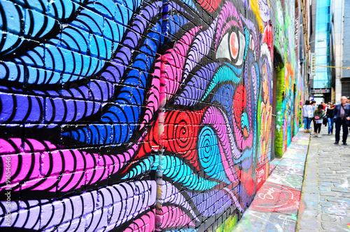 Fototapeta View of colorful graffiti artwork at Hosier Lane in Melbourne