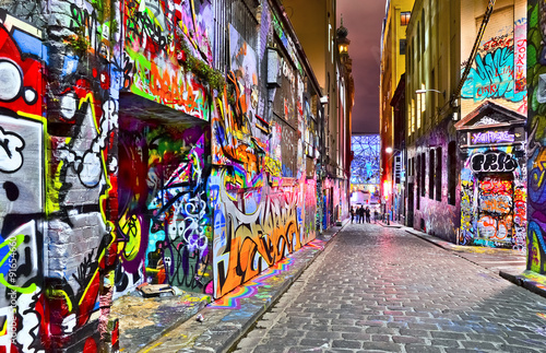 Poster, Tablou View of colorful graffiti artwork at Hosier Lane in Melbourne