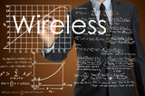businessman writing technological terminology on virtual screen poster