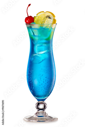 Naklejka Blue Lagoon cocktail with a slice of lemon and cherry
