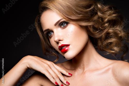 Plakát, Obraz Close-up portrait of beautiful woman with bright make-up