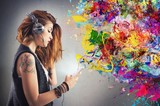 Fototapety Tattoo girl listens to music