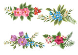 Fototapety Set of floral bouquets
