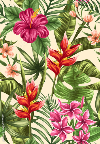 Obraz na Szkle Floral seamless pattern