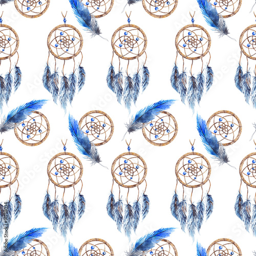 Watercolor ethnic tribal hand made feather dream catcher seamless pattern texture background - 91714034