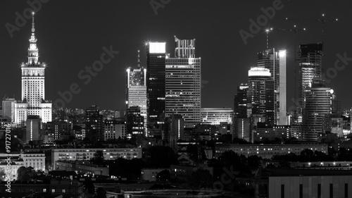 Zdjęcia na płótnie, fototapety na wymiar, obrazy na ścianę : Warsaw city center at night