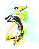 Illustration of volleyball player playing