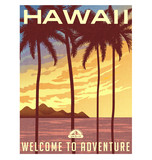 Retro style travel poster or sticker. United States, Hawaii sunset and palm trees. - 91743863