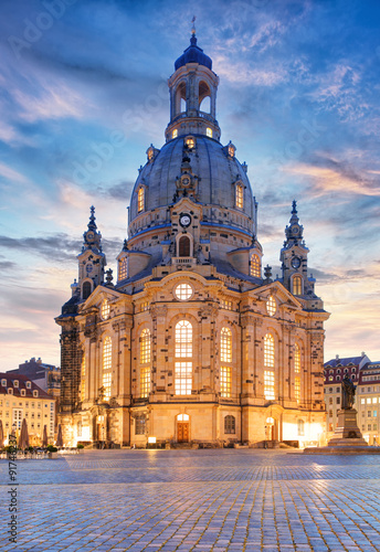 Lutheran church Dresden Frauenkirche in Dresden at night, German