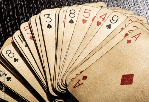 Plakat Old grungy vintage playing cards