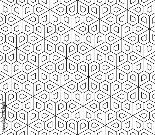 Vector modern seamless geometry pattern flower, black and white abstract geometric background, wallpaper print, monochrome retro texture, hipster fashion design - 91759658