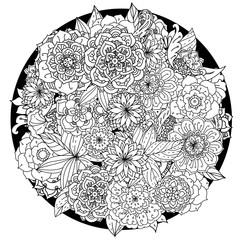 Circle floral ornament. Hand drawn art mandala.  Made by trace
