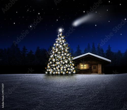 Weihnachtsbaum mit Schihütte bei Nacht