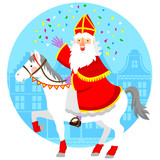 cartoon Sinterklaas or St. Nicholas riding his horse
