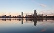 Boston Skyline Showing Charles River and John Hancock Building at Sunset