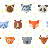 Seamless pattern with cute flat animals