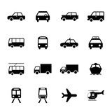 Fototapety Vehicle and Transportation icons set. Car icon. Plubic bus icon.