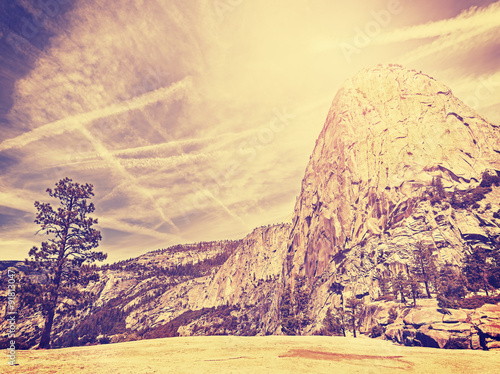Vintage stylized nature mountain background, USA.