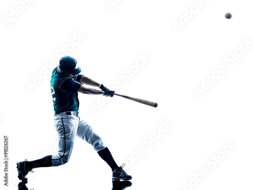 man baseball player silhouette isolated Poster