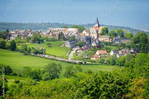 Papiers peints Pistache Landscape of Beaumont en Auge in Normandy, France