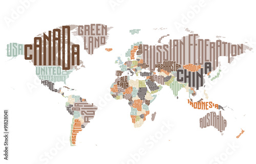 Plagát World map made of typographic country names