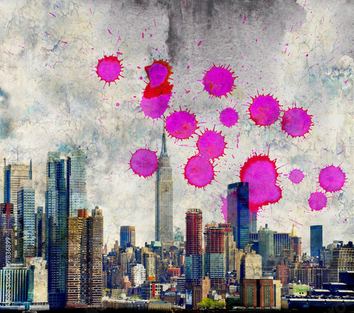 Grunge NY city skyline with dripping red - 91836899