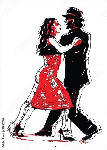 Keuken foto achterwand Vlinders in Grunge Sketched Tango Dancers in Red and Black
