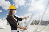 Young female architect/construction engineer