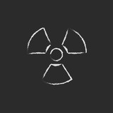 Ionizing radiation sign icon drawn in chalk. poster