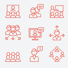 Teamwork and communication icons, thin line style, flat design