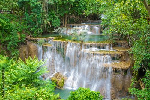 Zdjęcia na płótnie, fototapety na wymiar, obrazy na ścianę :  Huai Mae Khamin waterfall in Kanchanaburi province, Thailand.