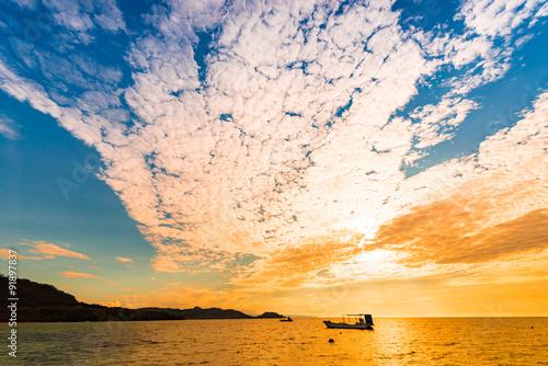 Sunset, sea, landscape. Okinawa, Japan, Asia.