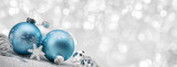 Blue Christmas balls with decoration on shiny background - Fine Art prints