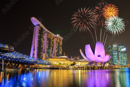Poster Fireworks over Marina bay