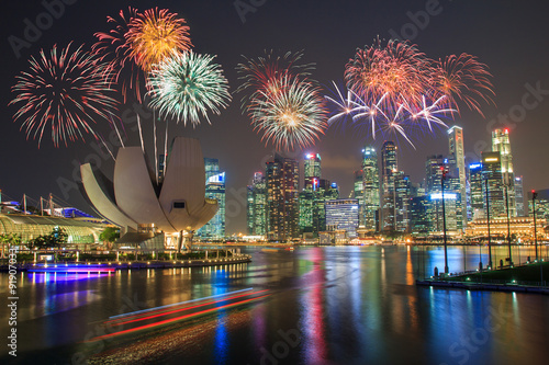 Plagát Fireworks over Marina bay