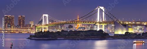 Plagát, Obraz Tokyo Rainbow Bridge in Tokyo, Japan at night